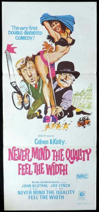 NEVER MIND THE QUALITY FEEL THE WIDTH Daybill Movie poster British Comedy John Bluthal