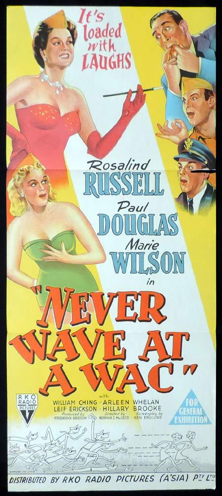 NEVER WAVE AT A WAC Original Daybill Movie Poster RKO Rosalind Russell