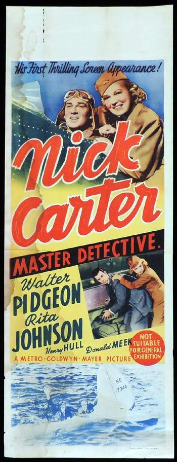 NICK CARTER MASTER DETECTIVE Long Daybill Movie poster 1939 Walter Pidgeon
