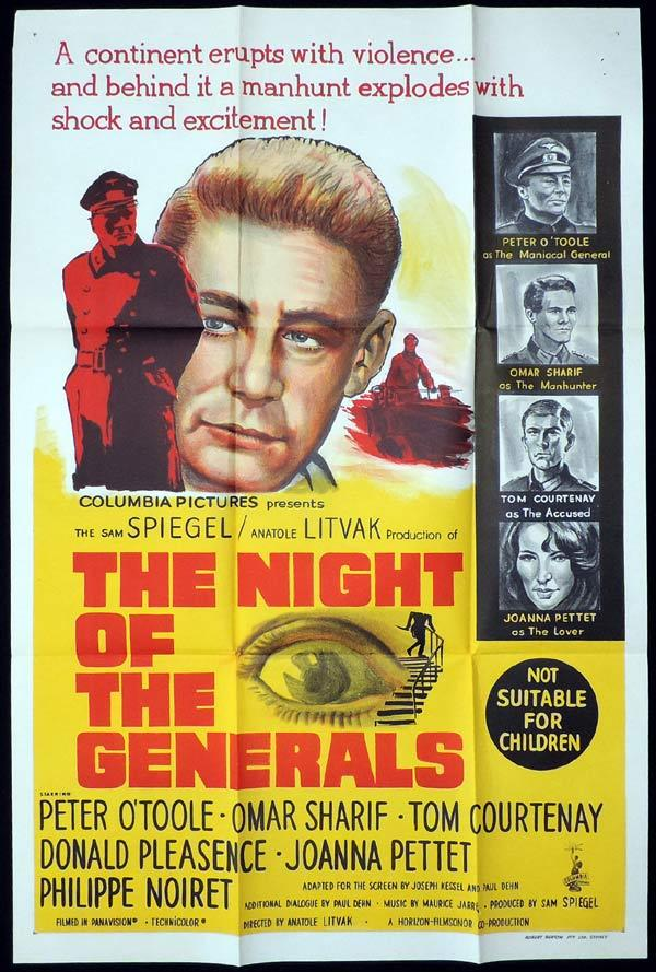 NIGHT OF THE GENERALS One Sheet Movie Poster Peter O'Toole