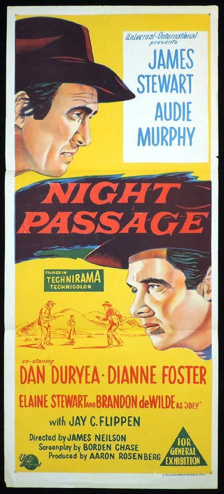 NIGHT PASSAGE Original Daybill Movie Poster James Stewart Audie Murphy