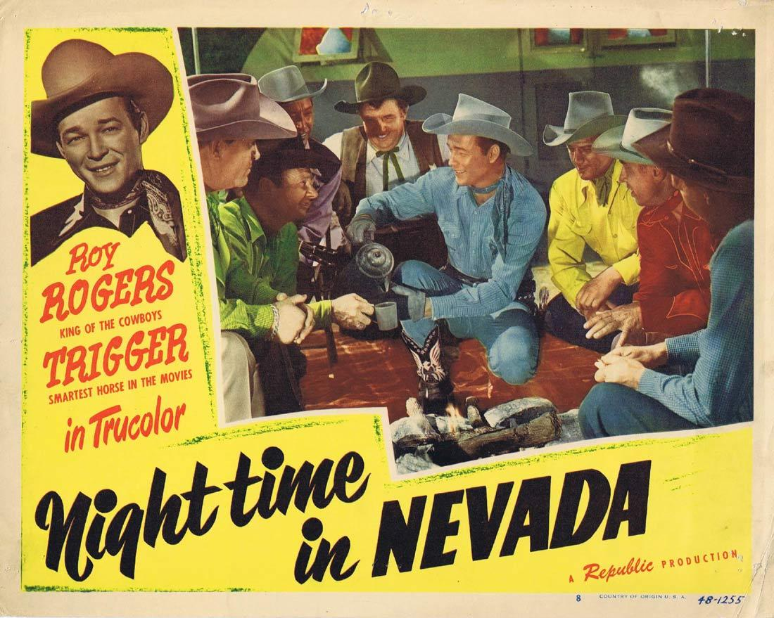 NIGHT TIME IN NEVADA Vintage Lobby Card 8 Roy Rogers Andy Devine
