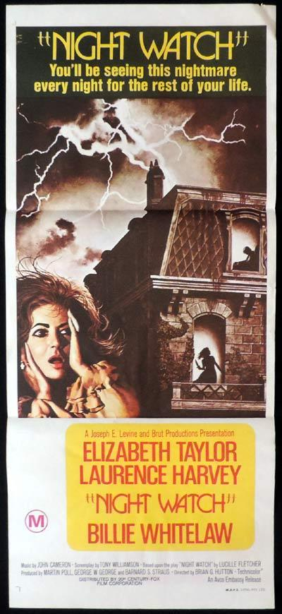 NIGHT WATCH daybill Movie poster Elizabeth Taylor
