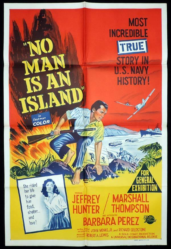 NO MAN IS AN ISLAND One Sheet Movie Poster Jeffrey Hunter