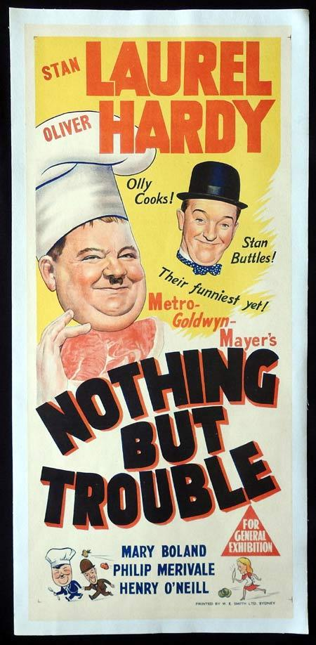 NOTHING BUT TROUBLE Daybill Movie poster LINEN BACKED Laurel and Hardy