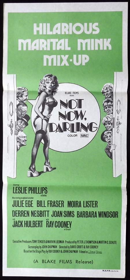 NOT NOW DARLING Original Daybill Movie Poster Leslie Phillips Moira Lister Julie Ege Jack Hulbert