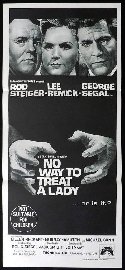 NO WAY TO TREAT A LADY Original Daybill Movie Poster  Patrick MacNee Connie Stevens