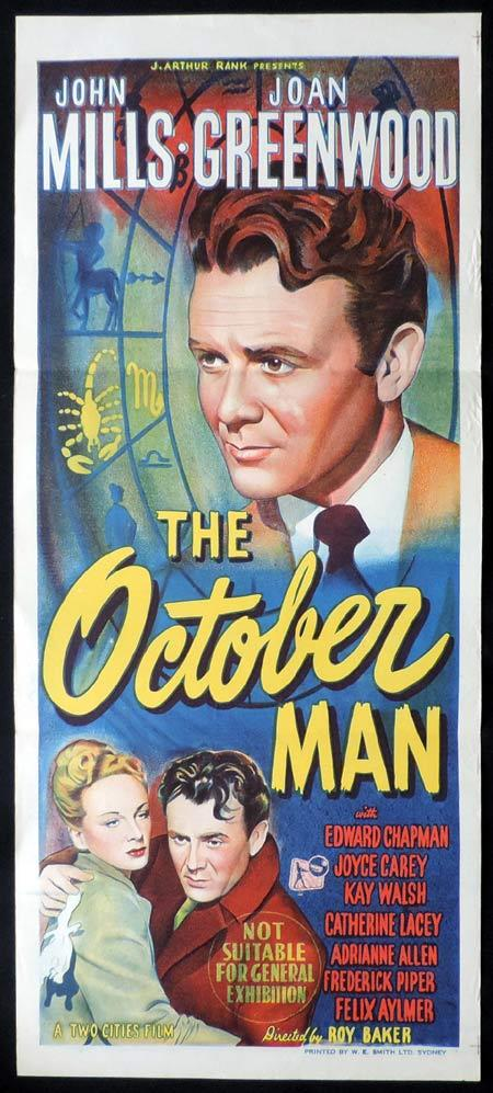 THE OCTOBER MAN Original Daybill Movie Poster John Mills Joan Greenwood