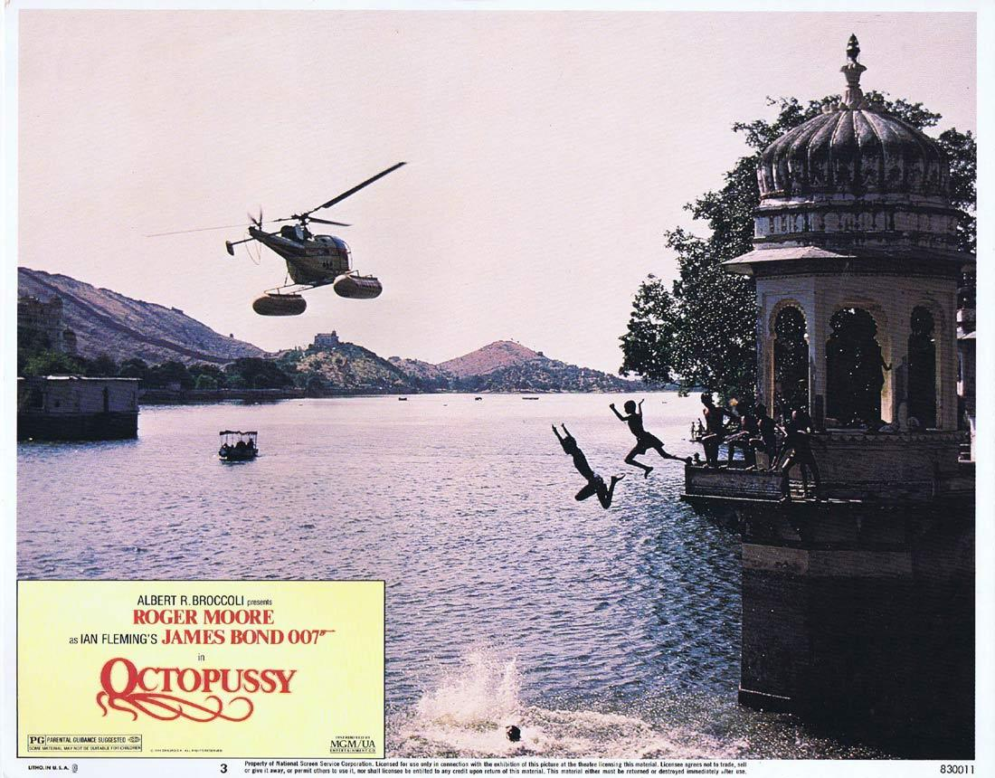 OCTOPUSSY Original US Lobby Card 3 Roger Moore James Bond 1983