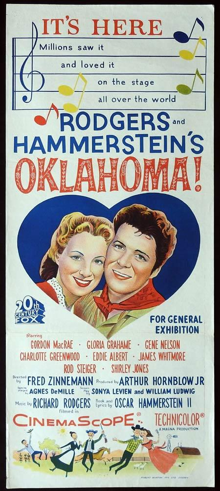 OKLAHOMA Original daybill Movie Poster Gordon MacRae Shirley Jones Gloria Grahame