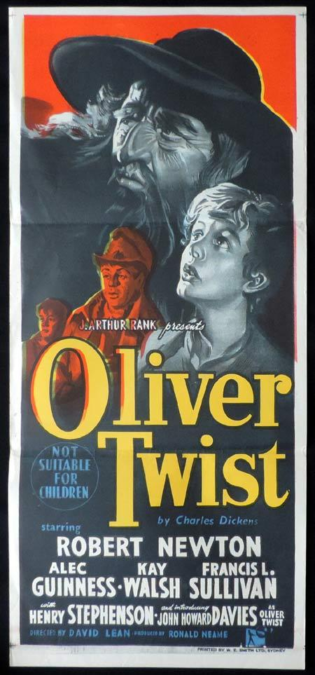 OLIVER TWIST Original Daybill Movie Poster 1948 Robert Newton Charles Dickens