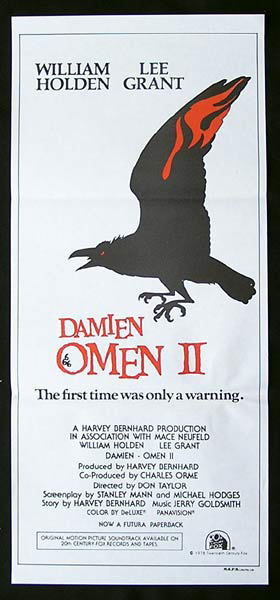 DAMIEN OMEN II daybill Movie poster William Holden Lee Grant ANTICHRIST 2