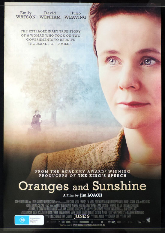 ORANGES AND SUNSHINE Movie poster Emily Watson David Wenham Hugo Weaving Australian Cinema One sheet