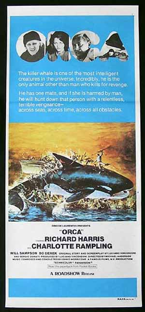 ORCA Daybill Movie Poster 1977 Richard Harris Charlotte Rampling Killer Whale