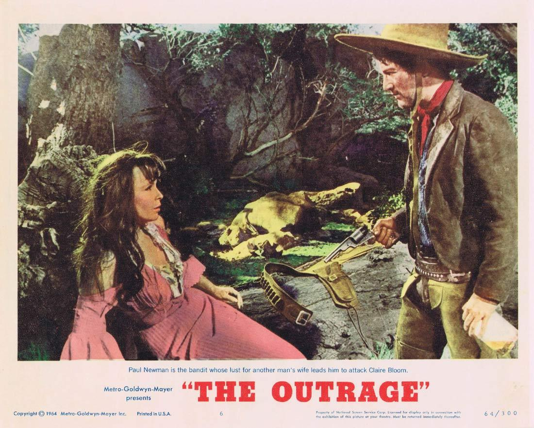 THE OUTRAGE Lobby Card 6 Paul Newman Laurence Harvey Claire Bloom Edward G. Robinson