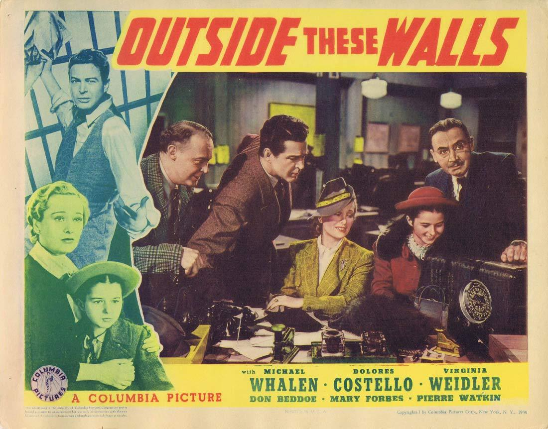 OUTSIDE THESE WALLS Original Lobby Card 2 Michael Whalen Dolores Costello Virginia Weidler