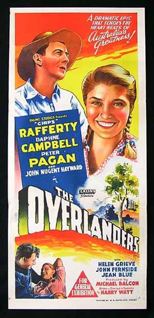 THE OVERLANDERS Chips Rafferty ORIGINAL EALING Daybill Movie poster