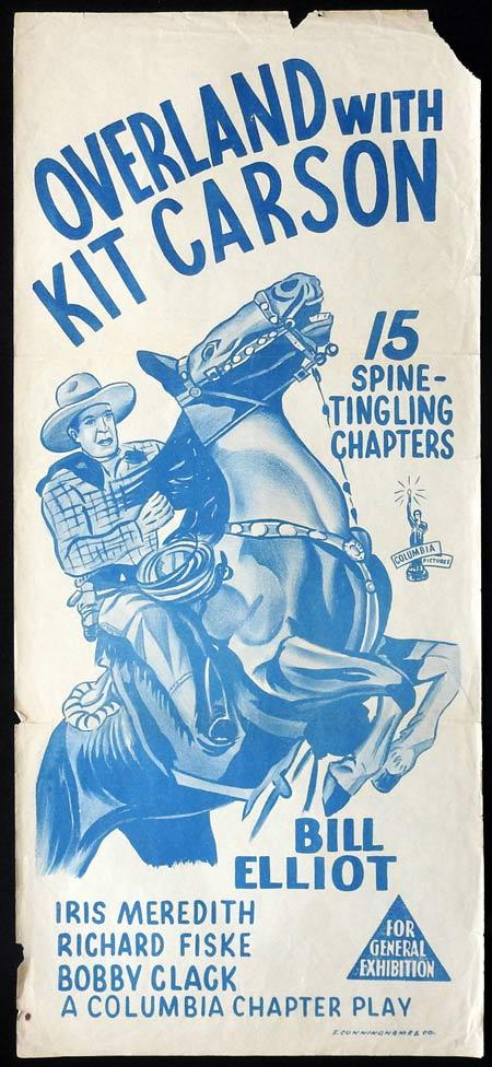 OVERLAND WITH KIT CARSON Original daybill Movie Poster Bill Elliot Columbia Serial 1950s