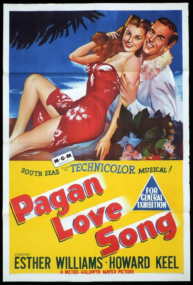 PAGAN LOVE SONG Original One sheet Movie Poster Esther Williams Howard Keel Minna Gombell