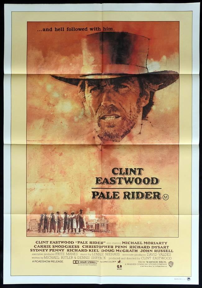 PALE RIDER Movie Poster 1985 Clint Eastwood One sheet
