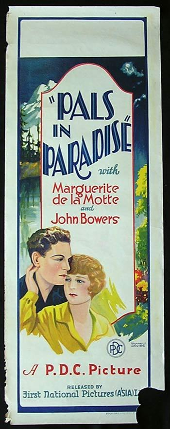 PALS IN PARADISE Movie Poster 1926 John Bowers RARE Long Daybill