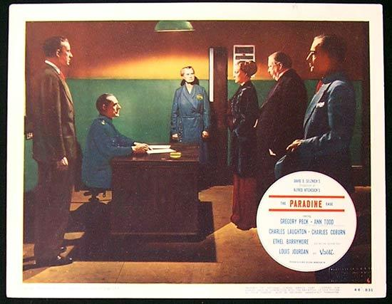 THE PARADINE CASE Lobby card 6 1948 Gregory Peck Alfred Hitchcock