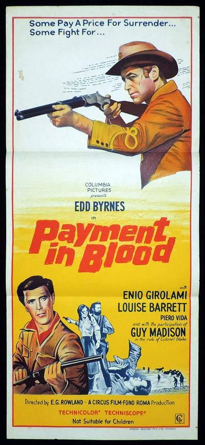 PAYMENT IN BLOOD Daybill Movie Poster Ed Byrnes Western