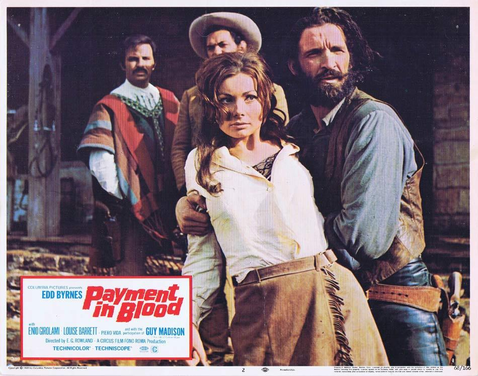 PAYMENT IN BLOOD Lobby Card 2 Edd Byrnes Spaghetti Western Guy Madison
