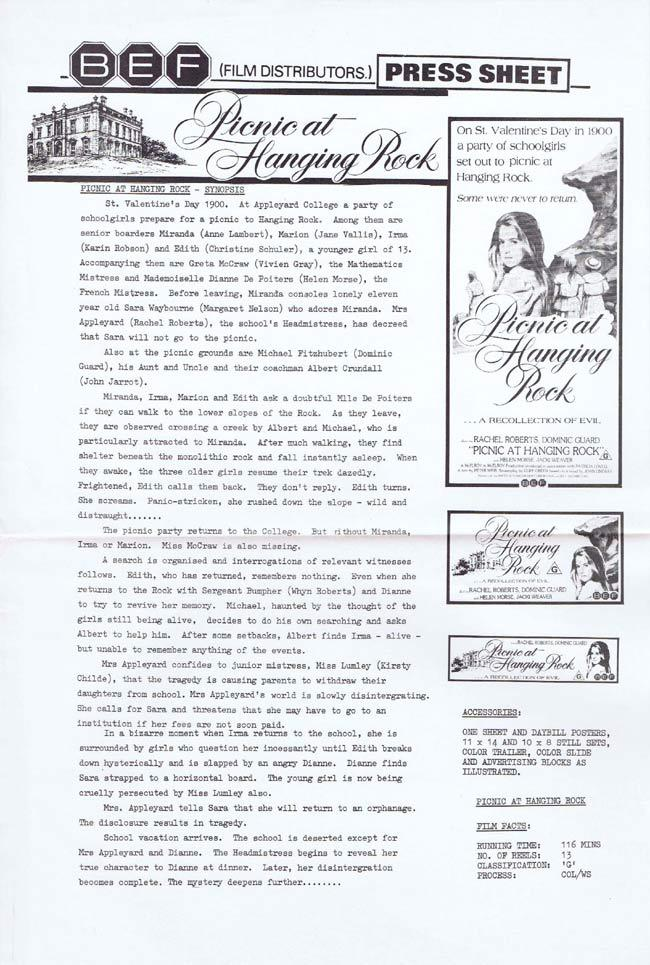 PICNIC AT HANGING ROCK Rare AUSTRALIAN Movie Press Sheet