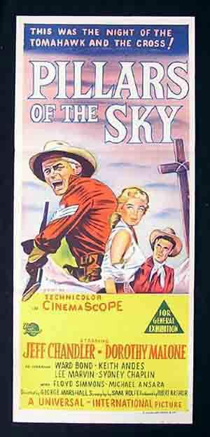 PILLARS OF THE SKY Daybill Movie Poster Jeff Chandler Dorothy Malone Ward Bond