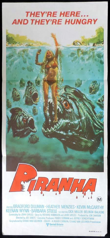PIRANHA Original Daybill Movie Poster killer fish Here and Hungry