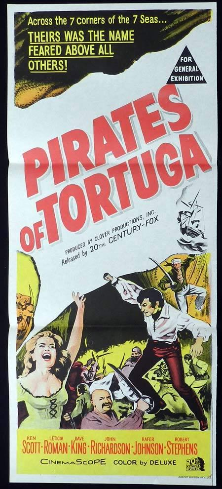 PIRATES OF TORTUGA Original Daybill Movie Poster Ken Scott Swashbuckler