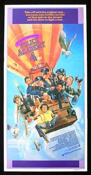 POLICE ACADEMY 4 Michael Winslow DREW STRUZAN ART Daybill Movie poster