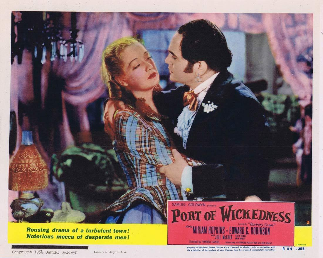 PORT OF WICKEDNESS Lobby Card 3 Miriam Hopkins Edward G. Robinson Joel McCrea 1954r