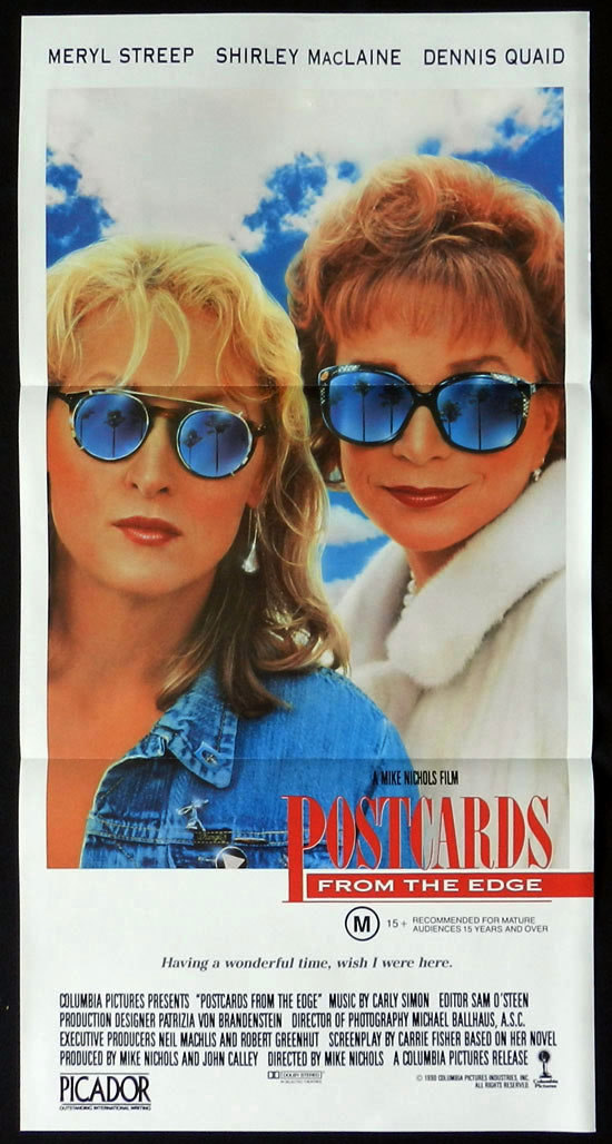 POSTCARDS FROM THE EDGE Daybill Movie poster Meryl Streep Shirley MacLaine