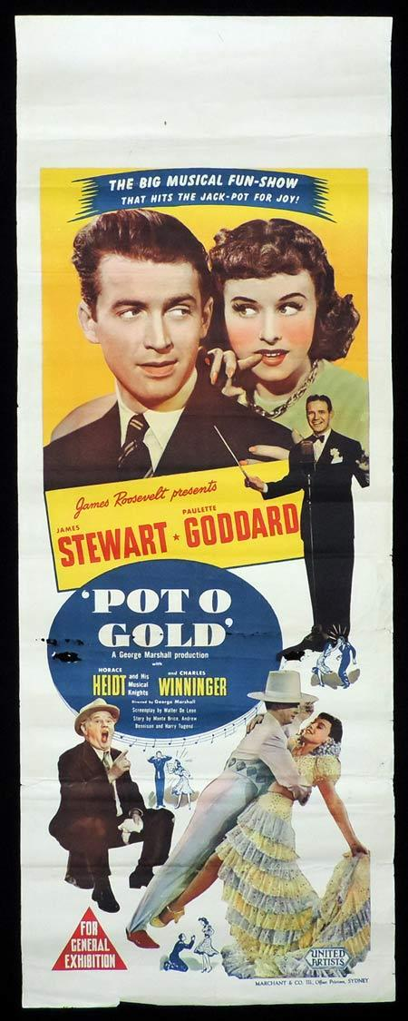 POT O' GOLD Original Daybill Movie Poster James Stewart Paulette Goddard