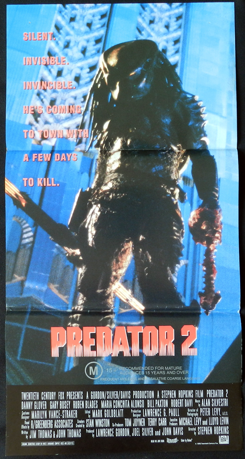 Predator 2, Stephen Hopkins, Danny Glover, Gary Busey, Rubén Blades, María Conchita Alonso, Bill Paxton, Elpidia Carrillo, Kevin Peter Hall, Calvin Lockhart, Robert Davi, Morton Downey, Jr., Adam Baldwin, Kent McCord, Steve Kahan, Corey Rand, Henry Kingi, Lilyan Chauvin, Michael Mark Edmondson, Teri Weigel, William R. Perry, Alex Chapman