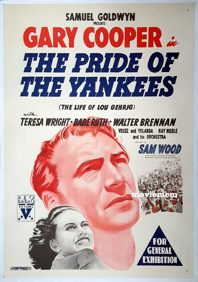 PRIDE OF THE YANKEES Original Daybill Movie Poster GARY COOPER Lou Gehrig