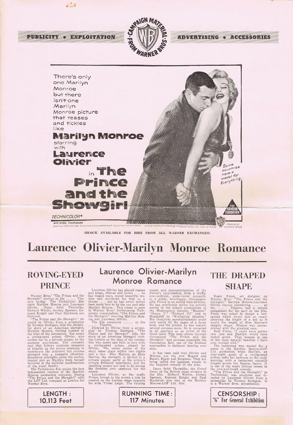 PRINCE AND THE SHOWGIRL Australian Movie Press Book