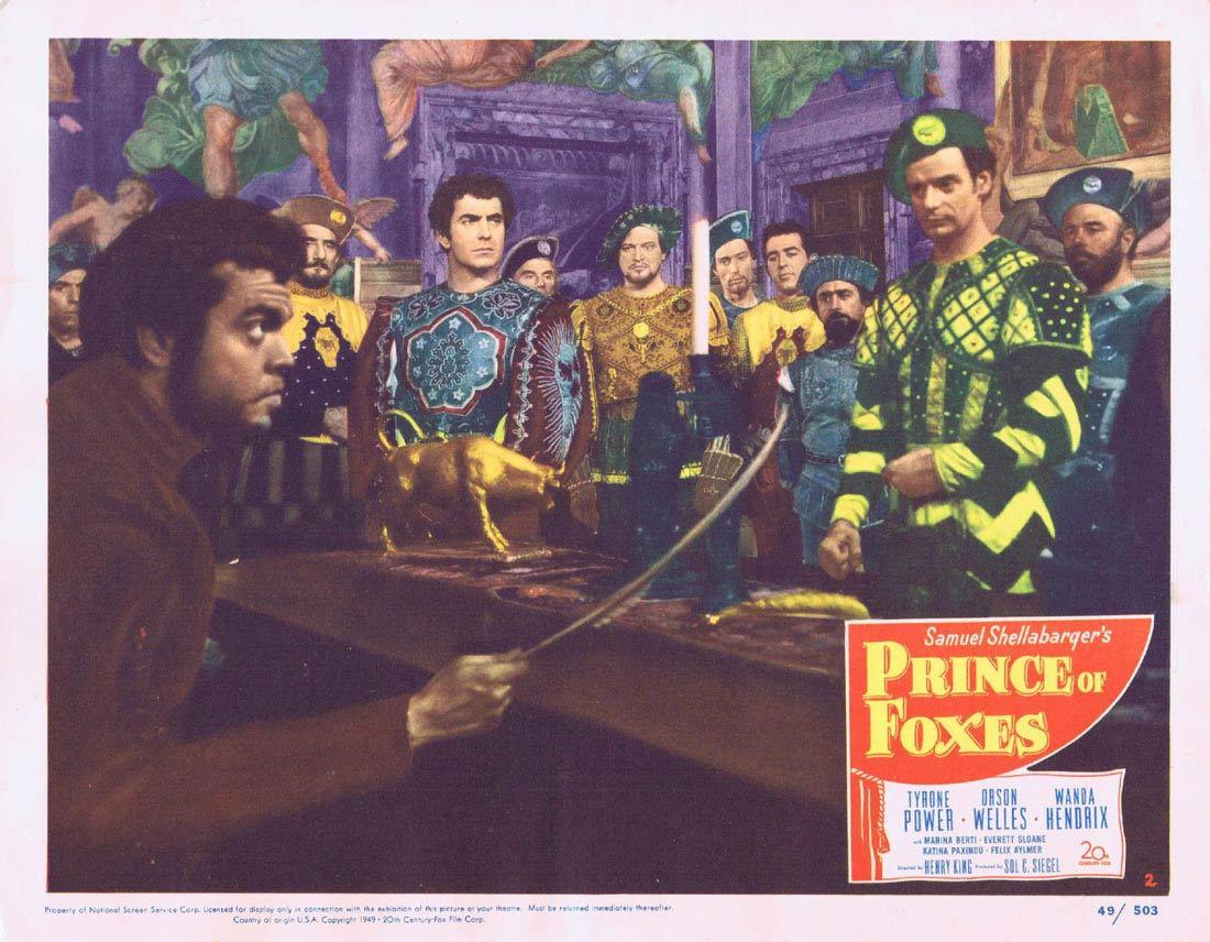 PRINCE OF FOXES Lobby Card 2 Tyrone Power Orson Welles