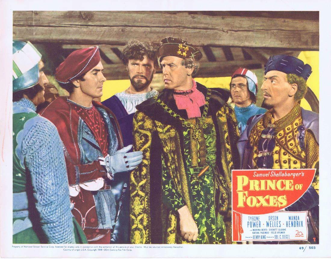 PRINCE OF FOXES Lobby Card 7 Tyrone Power Orson Welles
