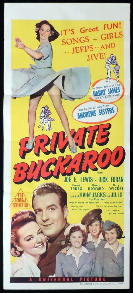 PRIVATE BUCKAROO Original Daybill Movie Poster The Andrews Sisters Harry James Marchant Art