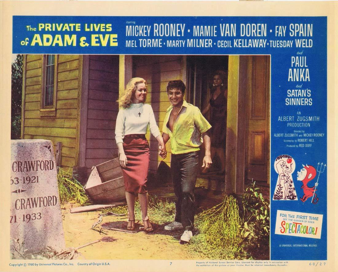 THE PRIVATE LIVES OF ADAM AND EVE Lobby Card 7 Mickey Rooney Mamie Van Doren