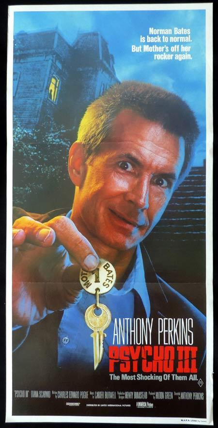 PSYCHO 3 Original Daybill Movie Poster Anthony Perkins as Norman Bates