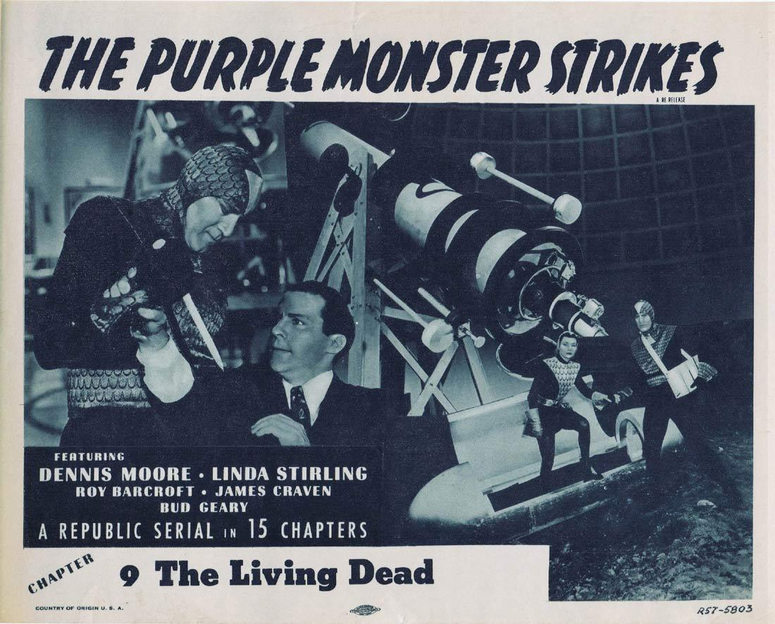 THE PURPLE MONSTER STRIKES Title Lobby Card THE DEMON KILLER 1957r Republic Serial