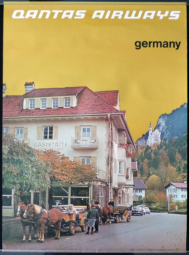 QANTAS Vintage Travel Poster GERMANY c.1970s