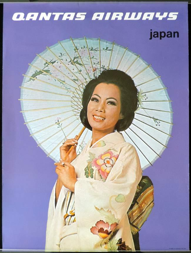QANTAS Vintage Travel Poster JAPAN c.1970s