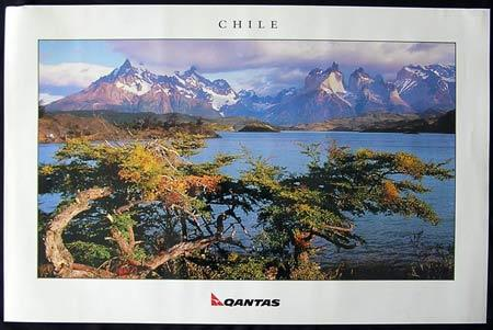 QANTAS Vintage Travel Poster c.1990s Chile