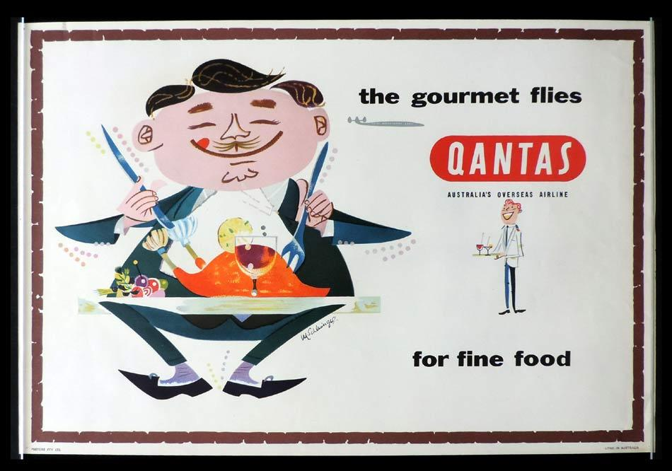 QANTAS Vintage Travel Poster The Gourmet M.Schlesinger art