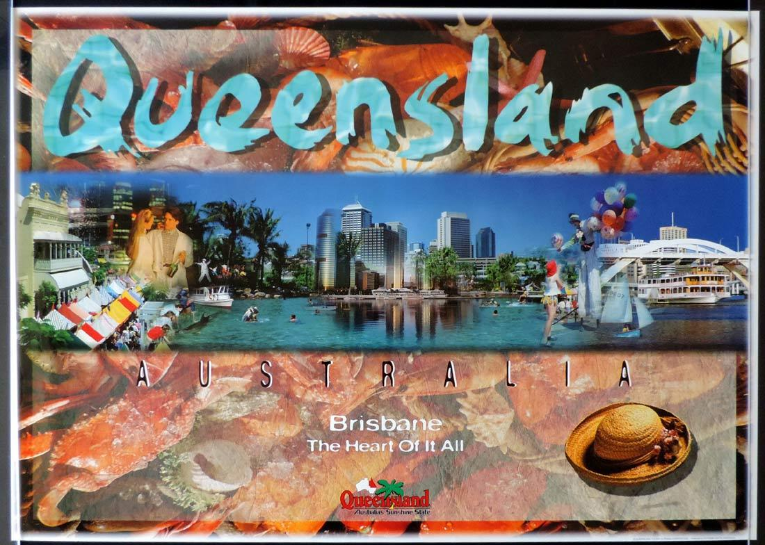QUEENSLAND Vintage Travel poster BRISBANE 1990s